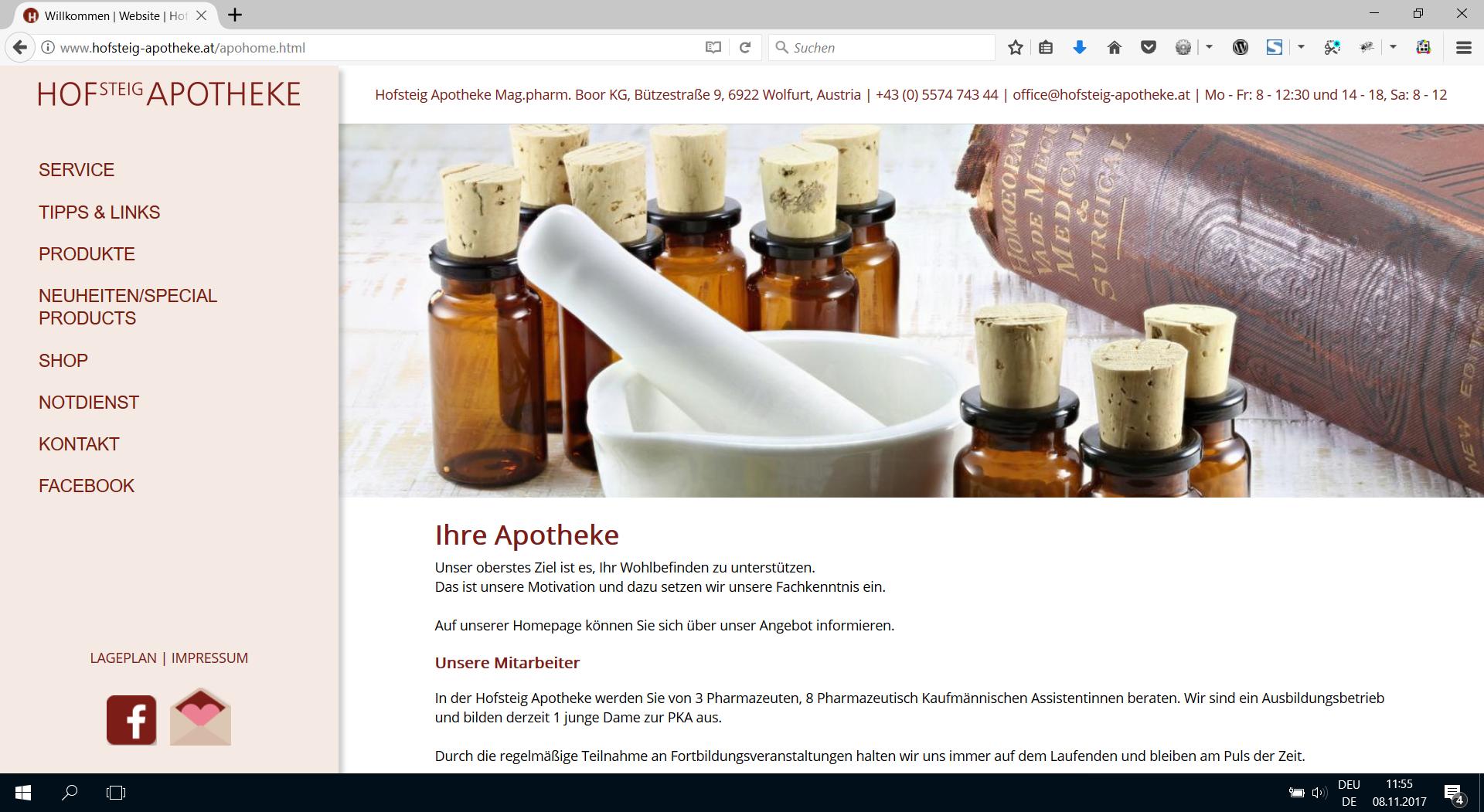 Webdesign Hofsteig-Apotheke.at